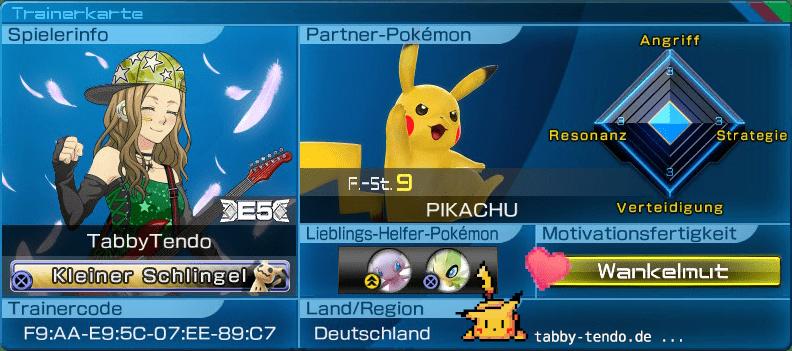 Pokémon Trainerkarte von Tabby Tendo. Trainerausweis.
