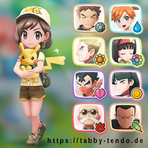 Trainerkarte von Tabby Tendo: alle 8 Arena-Orden von Kanto. Fellsorden, Quellorden, Sumpforden, Farborden, Seelenorden, Feuerorden, Erdorden + Pokémon-Liga.